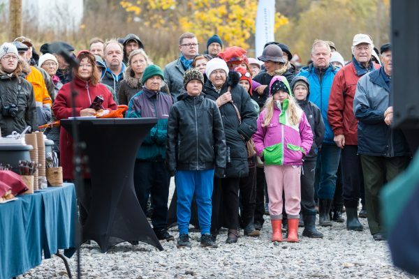 Approximately 200 gathered on a cold october day to celebrate the opening of their river.